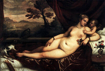Art Oil painting Tiziano Vecellio - Venus and Cupid with dog bird flowers canvas