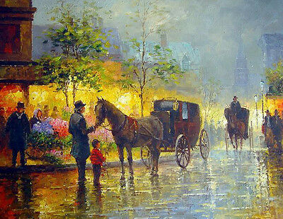 Oil painting sunset Paris street scene with carriages and People from work