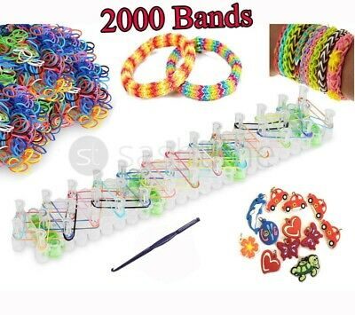 2000 Colourful Rainbow Rubber Loom Bands Bracelet Making Kit Set With S-Clips