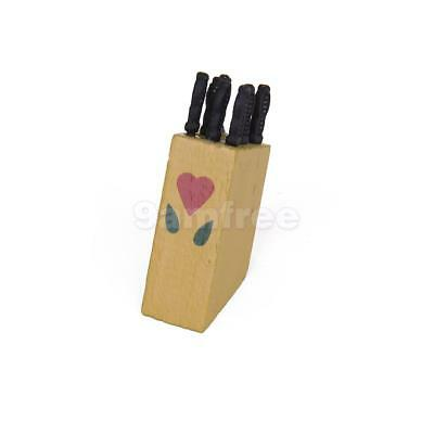 12th Dollhouse Miniature Wooden Knife Block With Knives Set Kitchen Accessories