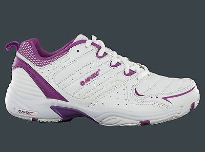 Hi-Tec T200 White Lightweight Gym Sport Tennis Womens Shoes Trainers Size 4-8 UK