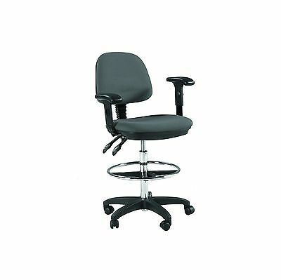 Gray | ADJUST & TILT Drafting Counter Height Chair Stool | w/ Arms | 360 Swivel