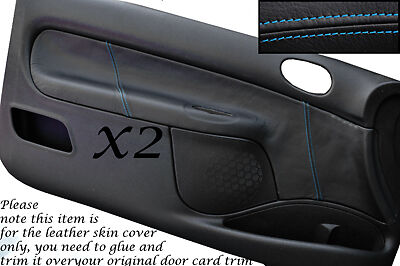 Blue Stitch Fits  Peugeot 206 Cc & 3 Door 98-10 2X Door Card Leather Covers Only