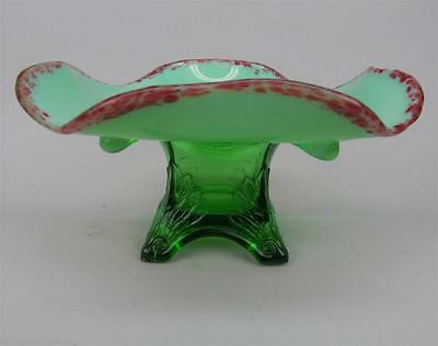SWAG WITH BRACKETS by JEFFERSON ~ GREEN OPALESCENT SUGAR BASE WHIMSEY