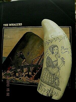 "Scrimshaw Sperm whale tooth resin replica the ship  ""ROMULUS"" 7 INCHES LONG"