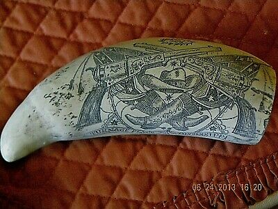 "Scrimshaw Sperm whale tooth resin replica ""TURNAGE MISSISSIPPI"" 8 inch"