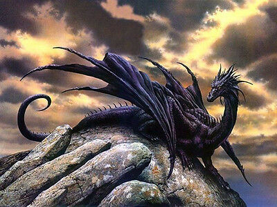Beautiful Oil painting  myth beast dragon a huge extinct reptile on the rock