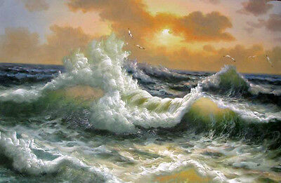 Excellent art Oil painting seascape Huge waves with flying seabirds canvas 36""