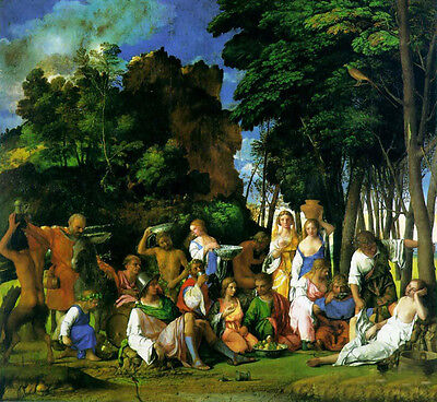 Large Oil painting Tiziano Vecellio - Feast of the Gods in spring season canvas
