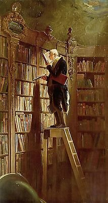 """Nice Oil painting Carl Spitzweg - The bookworm Librarian no framed canvas 24x36"""""""