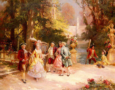 Beautiful Oil painting Cesare-Auguste Detti - The Castle Garden people by river