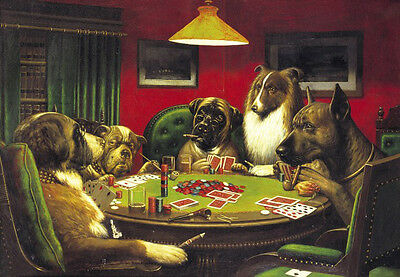 Art Oil painting abstract cassius coolidge dogs playing poker together canvas