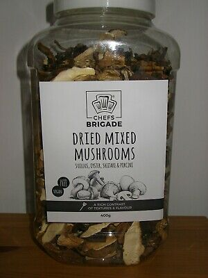 CHEFS BRIGADE DRIED MIXED MUSHROOMS...CATERERS 400g JAR...THE PRO'S CHOICE!