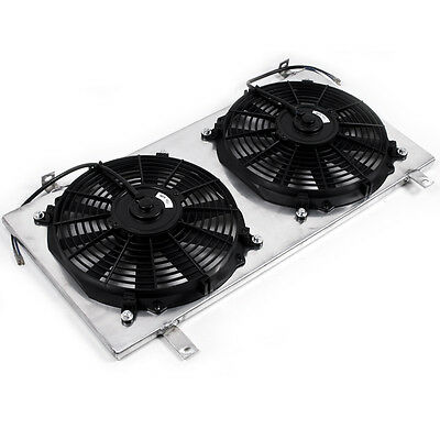 Universal Race Rally Sport Alloy Radiator Rad Shroud & 2 12V Electric Fans Kit