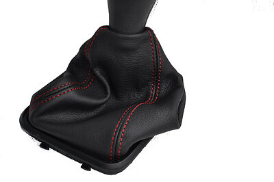 FITS MERCEDES A CLASS W169 LEATHER GEAR GAITER red stitc