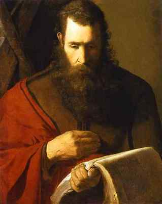 Wonderful Oil painting male portrait St. Andrew & Beard holding book on canvas