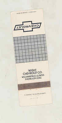 1972 ? Wight Chevrolet Automobile Dealer Matchbook Cover Williamsfield IL mb3171