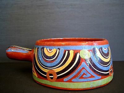 Vintage 60's 70's Mexican Marked Pottery Pot Original Redware Geometric Design