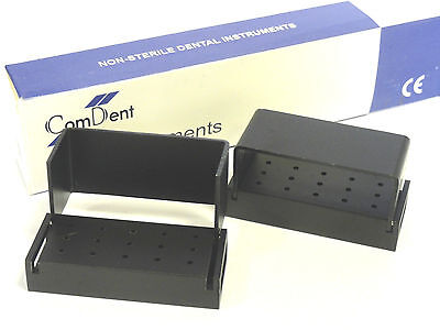 2  Dental Bur Block Holder to Hold Sterilize 15 FG Burs,Aluminium Anodized New