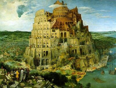 """Stunning Oil painting The Tower of Babel - Huge building old castle 30""""X40"""""""