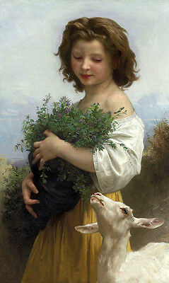 Huge Oil painting Bouguereau Shepherdess Young Girl portrait with goat canvas