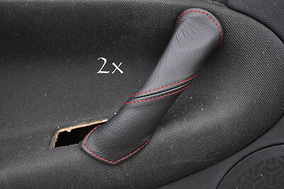FITS ALFA ROMEO 147 LEATHER 2X DOOR HANDLE COVERS red