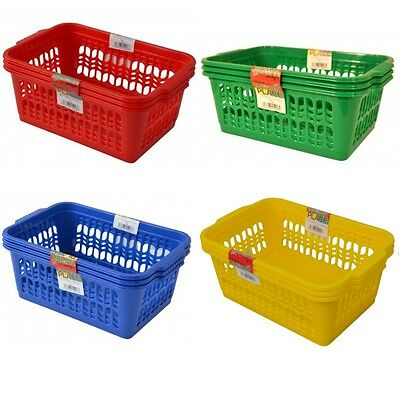 Set of 3 Colourful Medium Plastic Handy Fruit Vegetable Kitchen Storage Basket