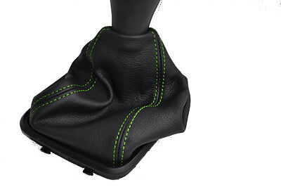 FITS MERCEDES A CLASS W169 LEATHER GEAR GAITER green stitc