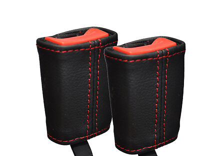 red  stitch FITS MERCEDES A CLASS W168  W169  2X SEAT BELT STALK COVERS