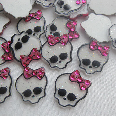 20/100pcs Upick Resin Skull Flatback Button DIY Scrapbooking Appliques JCN102