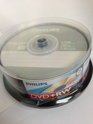 25-pk Philips brand 4x DVD+RW Rewritable DVD+R Recordable DVD Disc DW4S6B25F/17