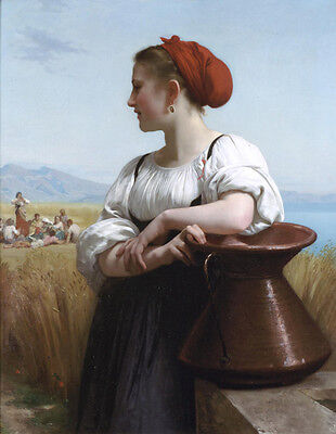 """Art Oil painting Bouguereau - Young girl portrait The Harvester in field 36"""""""