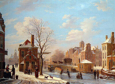 """Huge Oil painting A Dutch Town Scene in Winter with happy peoples canvas 36"""""""