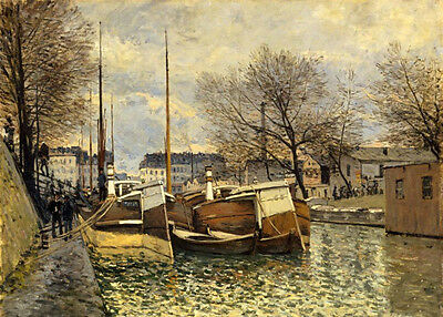 Stunning Oil painting Alfred Sisley Barges on the St-Martin Canal on canvas