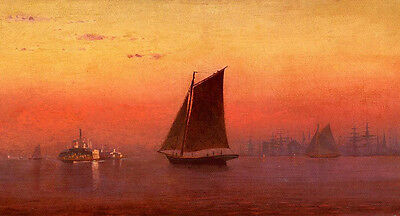 Oil painting Francis A. Silva - Sunset, New York Harbor with sail boats in view