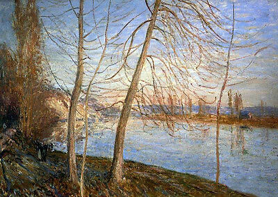 Stunning Oil painting Alfred Sisley - Winter Morning - Veneux impressionism art