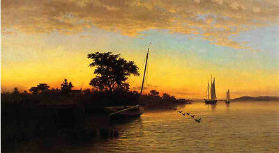 Oil painting Francis A. Silva - Sunset with canoe sail boats sea birds by harbor