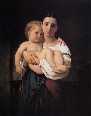 Huge Oil painting Bouguereau - Young girl portrait The Elder Sister with baby