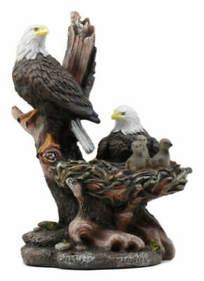 "Wildlife Habitat Bald Eagle Family In Nest Statue 12""H Eagle Mate With Nestlings"