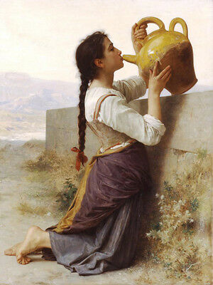 Oil painting Bouguereau young girl portrait - Drink water from One pot in field