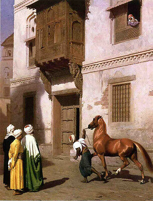 """Fine Oil painting Jean-Leon Gerom - Horse Merchant in Cairo on street canvas 36"""""""