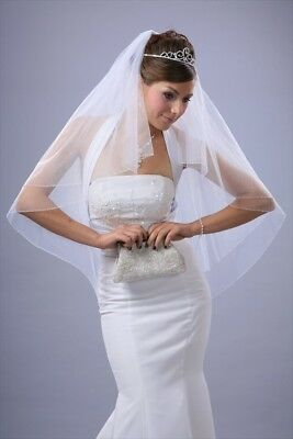 Bridal Veil Ivory 2 Tiers Fingertip Length Edge With Bicone and Seed beads