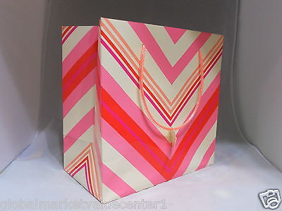 Bath & Body Works Striped Pink, Red, and Cream Party Gift Bag NEW