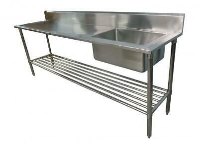 2400 x 600mm NEW COMMERCIAL SINGLE BOWL KITCHEN SINK #304 STAINLESS STEEL BENCH