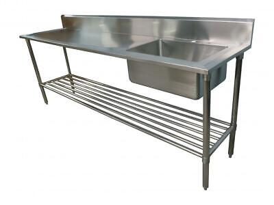 2400x600mm NEW COMMERCIAL SINGLE BOWL KITCHEN SINK #304 STAINLESS STEEL BENCH E0