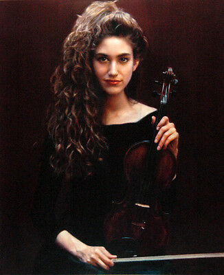 Art Oil painting nice young beauty girl with violin canvas