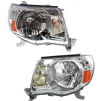Headlight Set For 2005-2011 Toyota Tacoma Left and Right Halogen With Bulb 2Pc