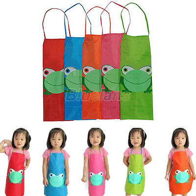 Kids Children Waterproof Cartoon Frog Print Apron Overclothes For Painting #b1