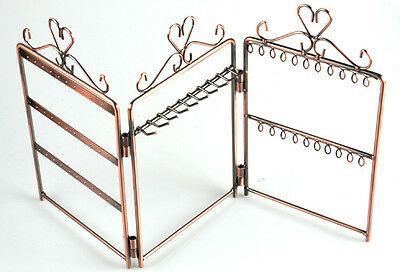 Three Storeys Screen Hangings Earring Jewelry Stand Holder Display Case bronze