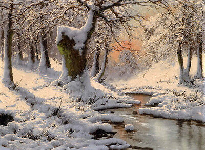 No framed Oil painting beautiful winter snow landscape with stream in sunset